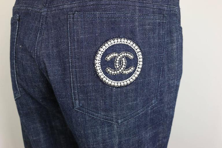 Chanel Blue Embroidered Faux Pearl Denim Jeans  4