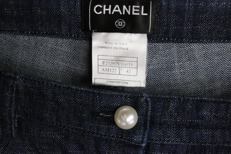 Chanel Blue Embroidered Faux Pearl Denim Jeans  6