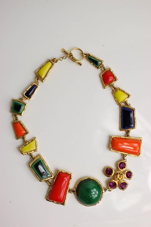 Christian Lacroix Multi Colour Shapes Gripoix & Flower Rhinestones Necklace  2