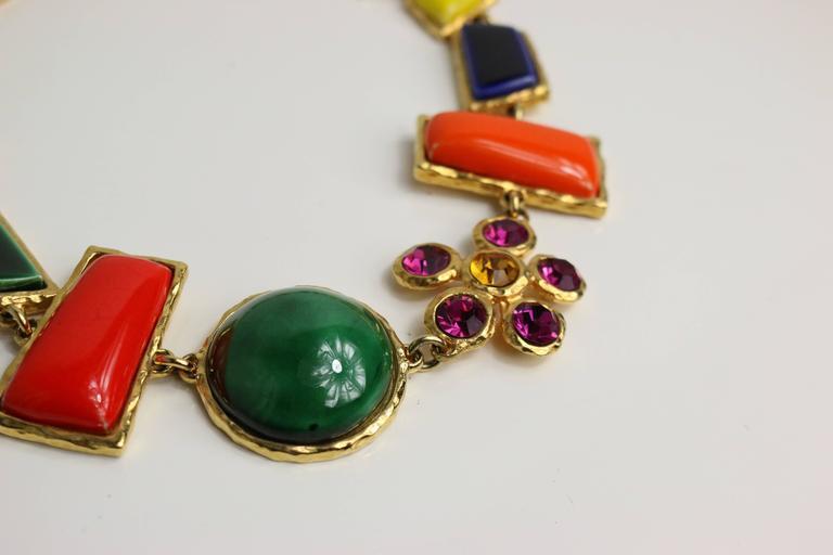 Christian Lacroix Multi Colour Shapes Gripoix & Flower Rhinestones Necklace  3