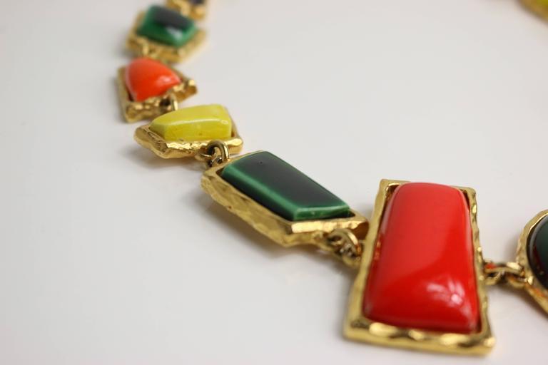 Christian Lacroix Multi Colour Shapes Gripoix & Flower Rhinestones Necklace  4
