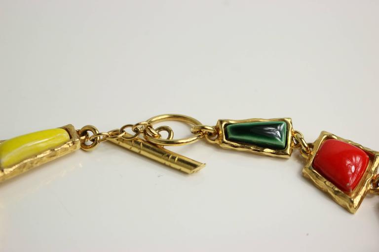 Christian Lacroix Multi Colour Shapes Gripoix & Flower Rhinestones Necklace  5