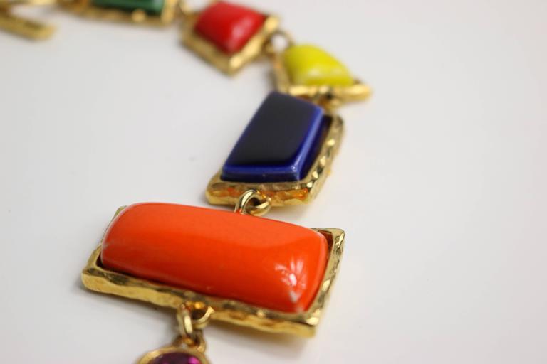Christian Lacroix Multi Colour Shapes Gripoix & Flower Rhinestones Necklace  6