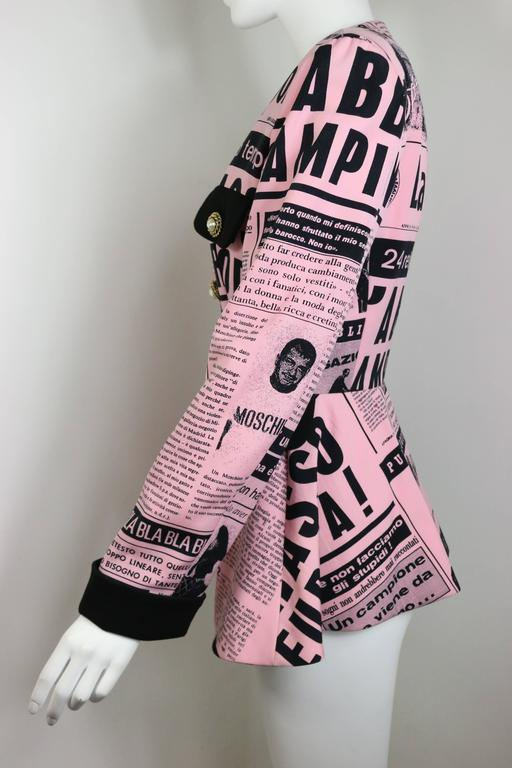 Moschino Couture Pink Wool Smiley Face Newsprint Jacket In Excellent Condition For Sale In Sheung Wan, HK