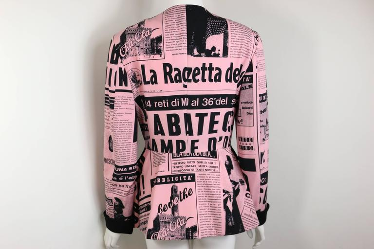 Women's Moschino Couture Pink Wool Smiley Face Newsprint Jacket For Sale