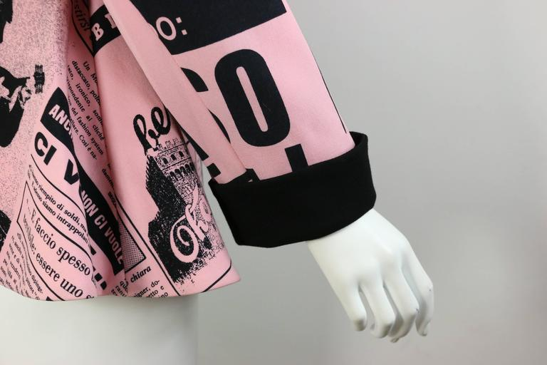 Moschino Couture Pink Wool Smiley Face Newsprint Jacket For Sale 1
