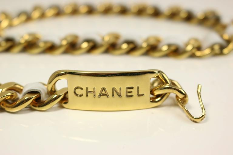 "Beige Chanel White Leather Gold Tone ""CC"" Logo Medallion Chain Belt For Sale"