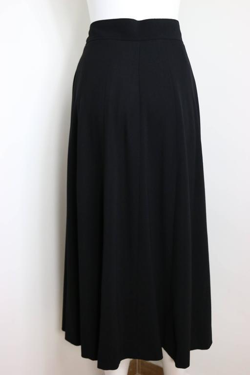 Women's Chanel Black Wool A-Line Long Skirt  For Sale