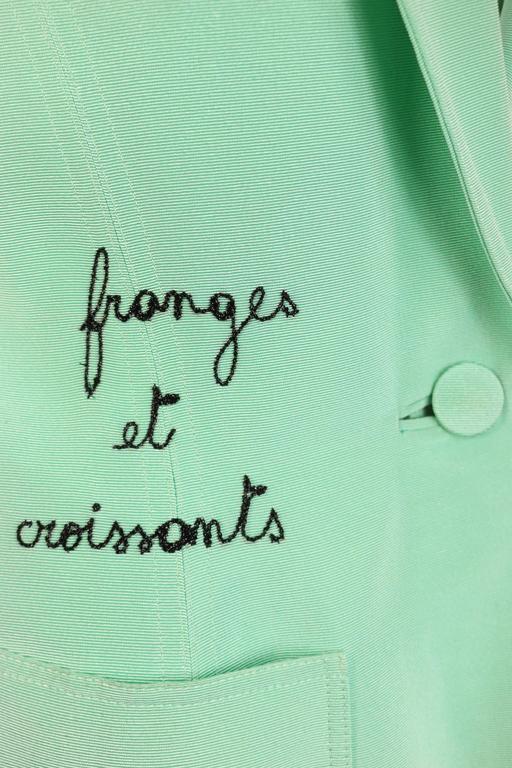 Blue Franck Sorbier Mint Embroidered Jacke For Sale