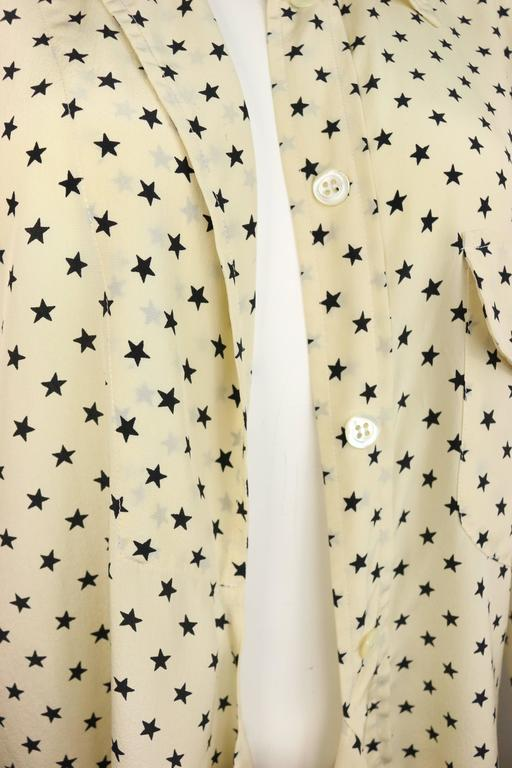 Moschino Couture Ivory Star Pattern Asymmetric Silk Shirt 2