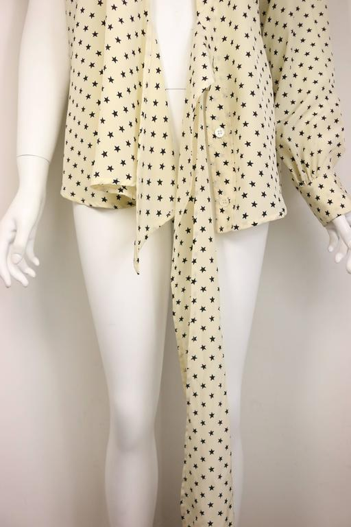 Moschino Couture Ivory Star Pattern Asymmetric Silk Shirt 3