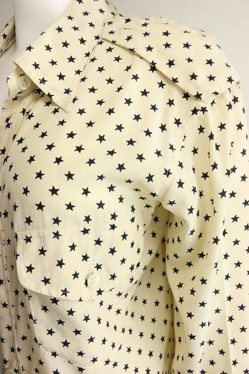 Moschino Couture Ivory Star Pattern Asymmetric Silk Shirt 4