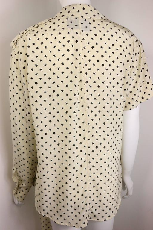 Moschino Couture Ivory Star Pattern Asymmetric Silk Shirt 7