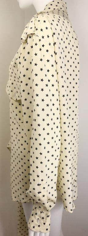 Moschino Couture Ivory Star Pattern Asymmetric Silk Shirt 5