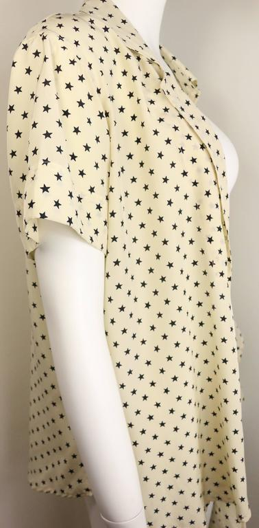 Moschino Couture Ivory Star Pattern Asymmetric Silk Shirt 6