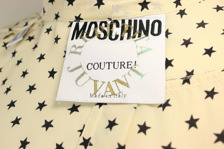 Moschino Couture Ivory Star Pattern Asymmetric Silk Shirt 8