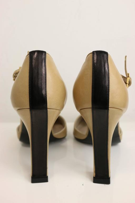 Brown Chanel Bi Tones Slingback Heels For Sale