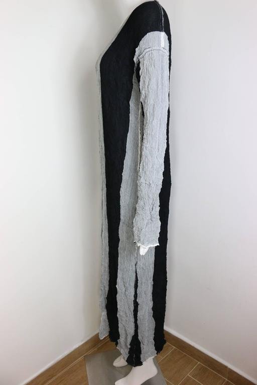 Issey Miyake Black/Grey Striped Pleated Long Dress  In Excellent Condition For Sale In Sheung Wan, HK