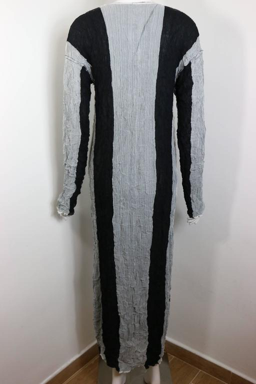 Women's Issey Miyake Black/Grey Striped Pleated Long Dress  For Sale