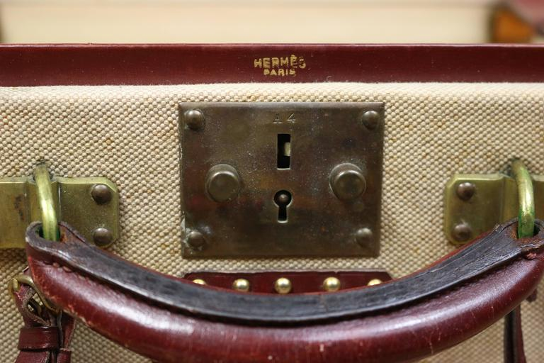 Hermes Canvas Rigid Trunk  In Excellent Condition For Sale In Sheung Wan, HK