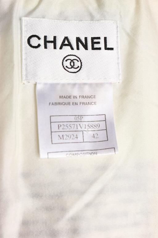 Chanel White Multicolour Plaid Tweed Fringe Sleeves Shift Dress  For Sale 1