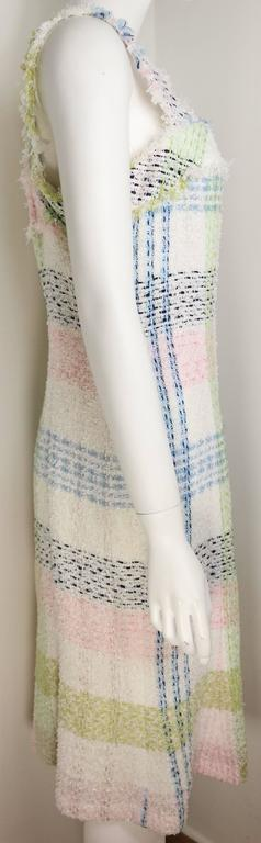 Gray Chanel White Multicolour Plaid Tweed Fringe Sleeves Shift Dress  For Sale