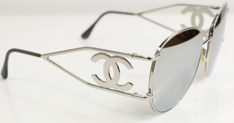 - Vintage 90s Chanel silver metal miller sunglasses. 