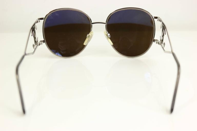 Beige Chanel Silver Metal Miller Sunglasses For Sale