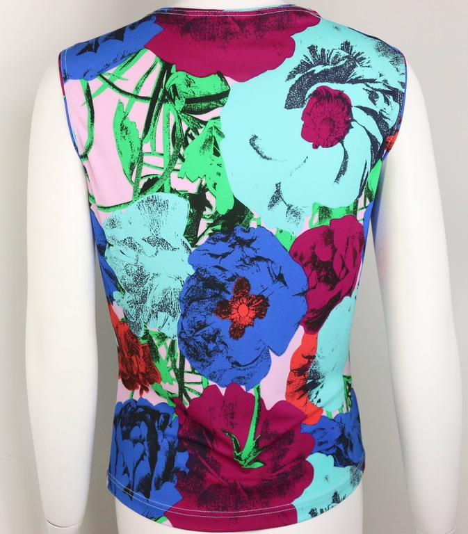 Purple Gianni Versace Couture Colour Floral Print Tank Top  For Sale