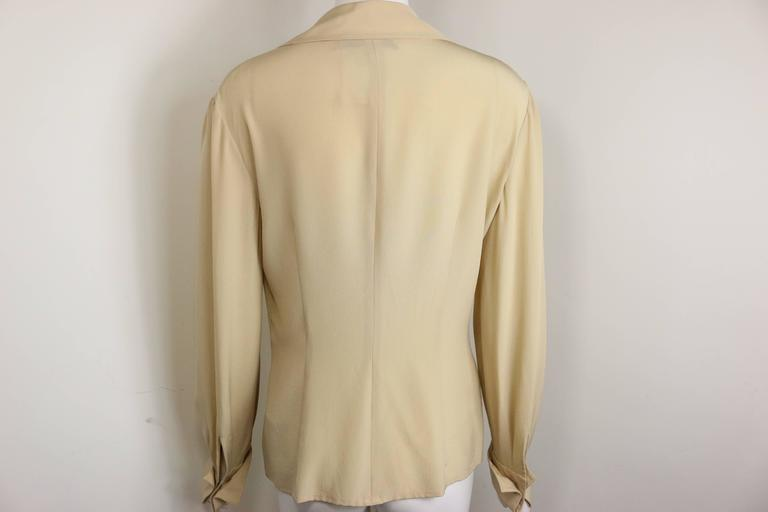 Valentino Beige Silk Blouse Shirt  In Excellent Condition For Sale In Sheung Wan, HK