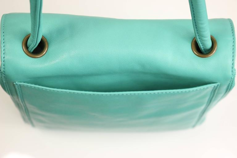 Chanel Turquoise Lambskin Leather Cross Shoulder Strap Flap Bag 3