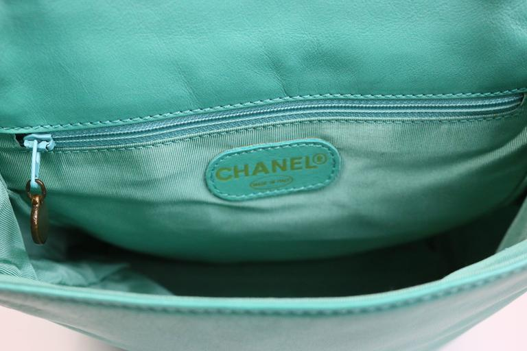 Chanel Turquoise Lambskin Leather Cross Shoulder Strap Flap Bag 4