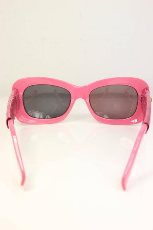 Brown Gianni Versace Pink Croc Leather Sunglasses For Sale