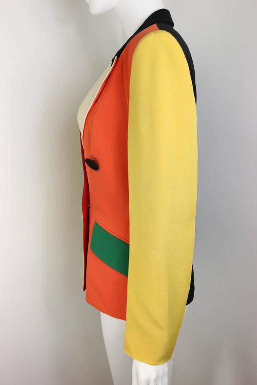 Moschino Colour Blocked Double Breasted Jacket In Good Condition For Sale In Sheung Wan, HK