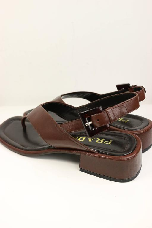 Black Prada Brown Leather Slingback Sandals For Sale