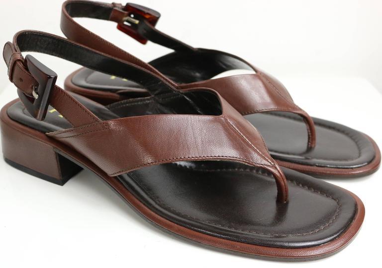 Prada Brown Leather Slingback Sandals 2