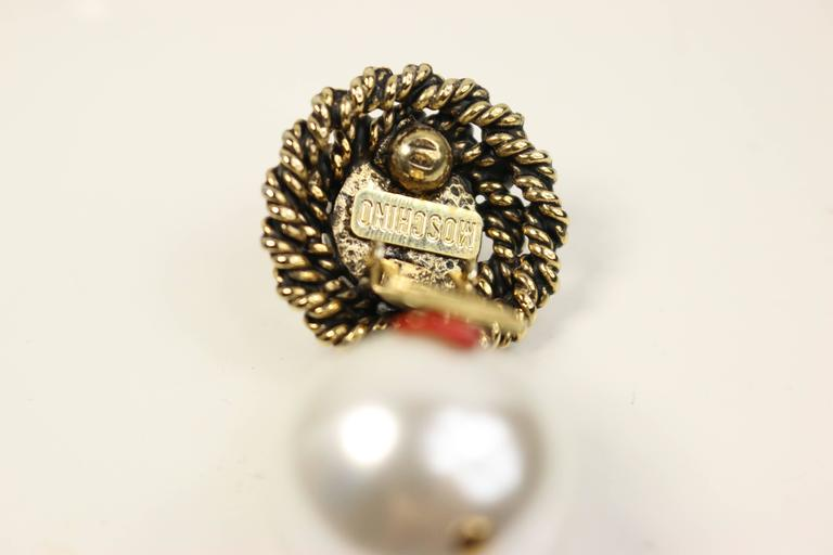 Moschino Pearls With Hearts Gold Tone Drop Clip-On Earrings  2