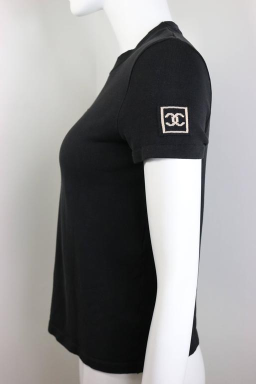 "Chanel Black ""CC"" Logo Short Sleeve Crew Neck Top 2"