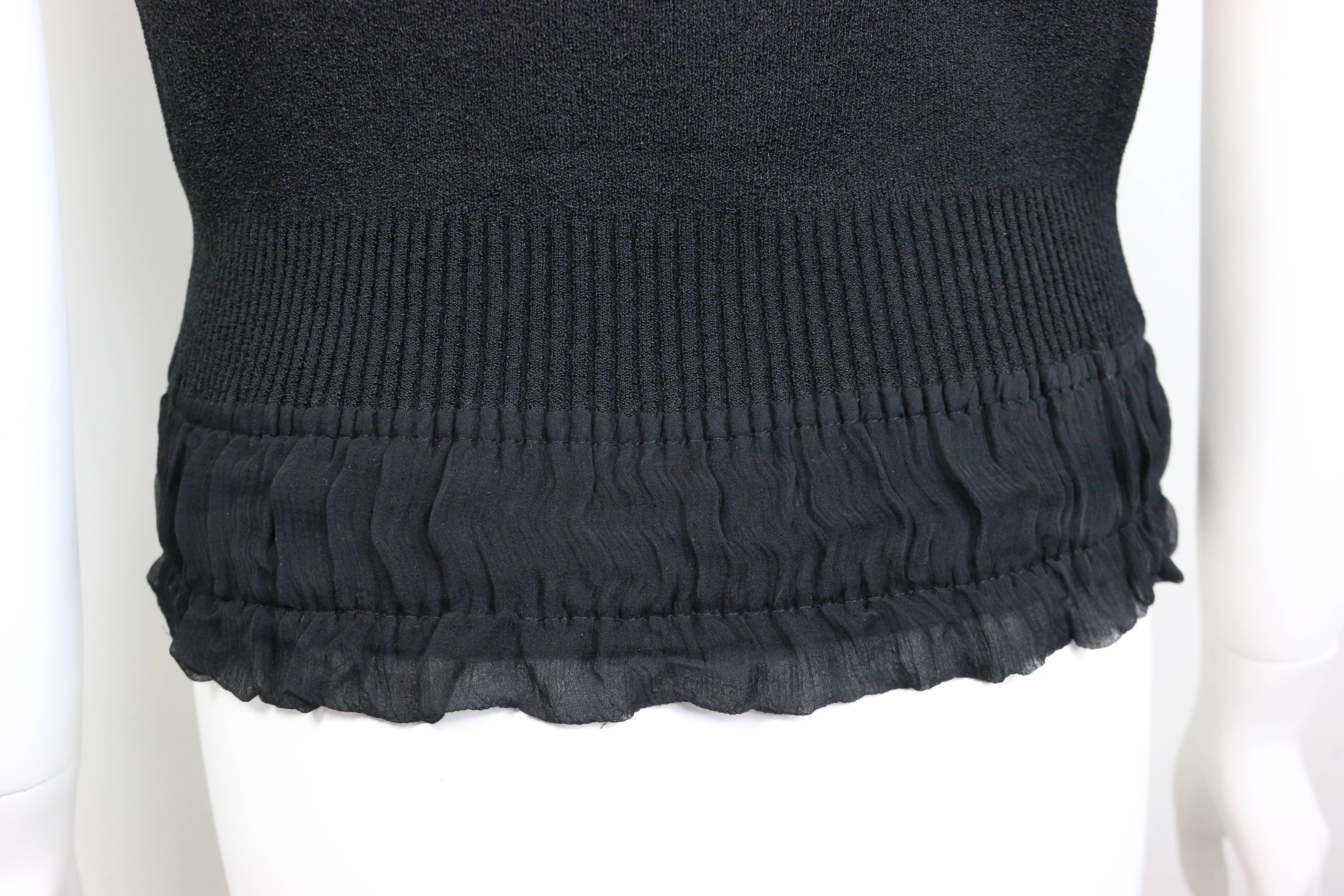 10795ced79f0e Chanel Black Ribbed Knit Silk Ribbon Bow Spaghetti Straps Tank Top For Sale  at 1stdibs