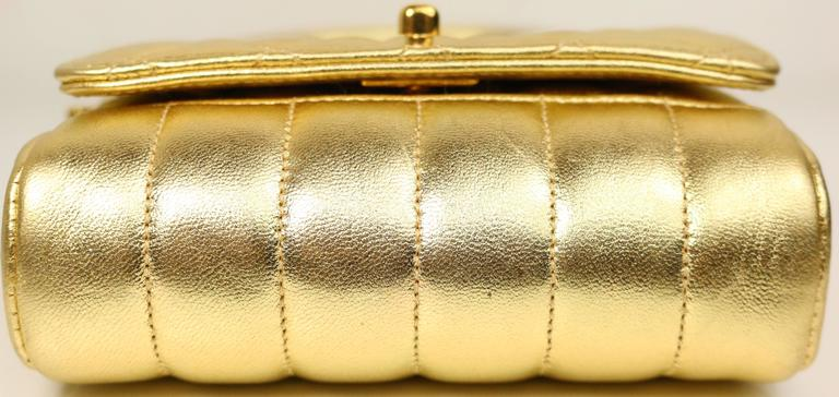 Chanel Gold Metallic Lambskin Quilted Flap Mini Shoulder Bag 4