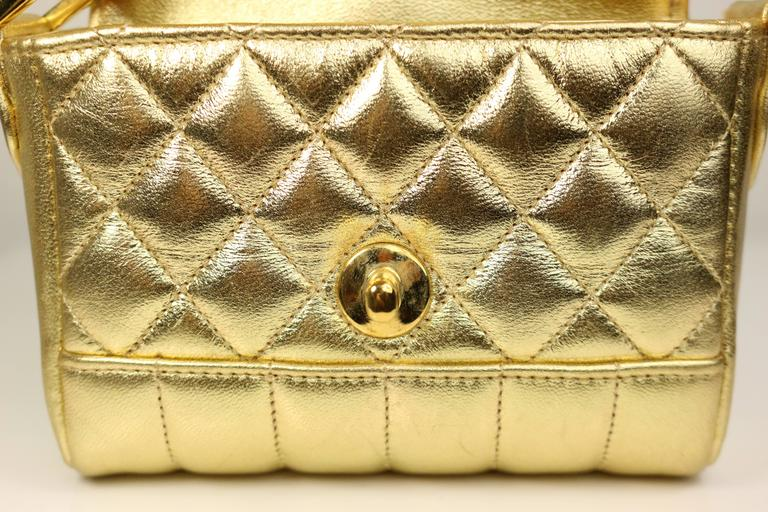 Chanel Gold Metallic Lambskin Quilted Flap Mini Shoulder Bag 5