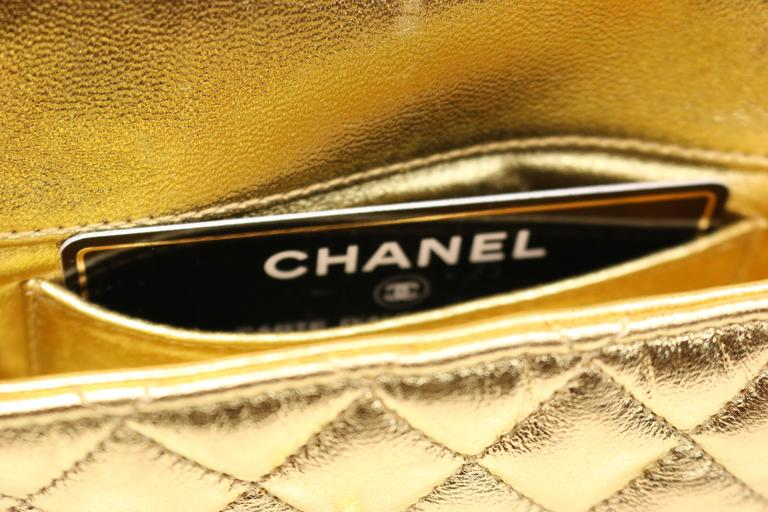 Chanel Gold Metallic Lambskin Quilted Flap Mini Shoulder Bag 6