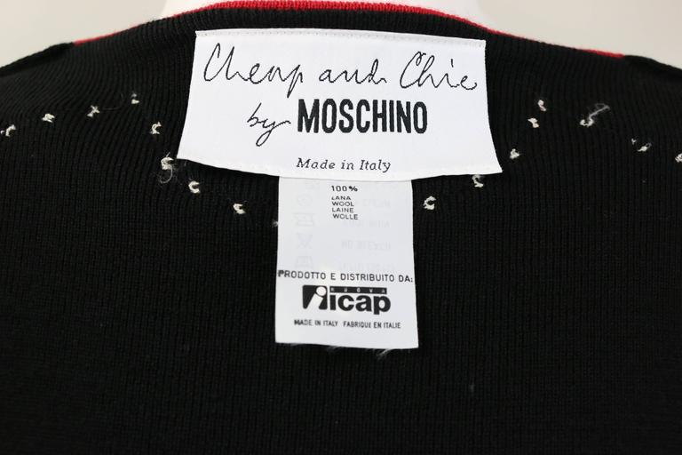 b7385166779 Women's Moschino Cheap and Chic Black/Red with Mother of Pearl Buttons Wool  Cardigan For
