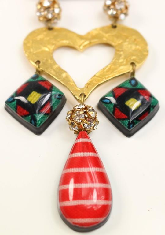 - Vintage 90s Christian Lacroix multicoloured heart drop clip on earrings.   - Made in France.   - Length: 11cm. Width: 4cm.