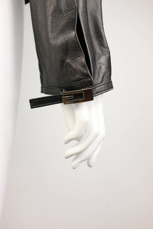 Gucci by Tom Ford Black Lambskin Leather Jacket For Sale 3
