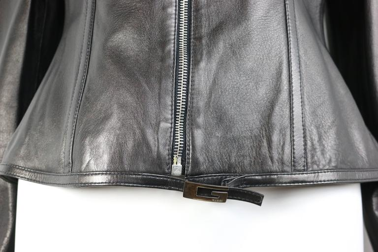 Gucci by Tom Ford Black Lambskin Leather Jacket In Excellent Condition For Sale In Sheung Wan, HK