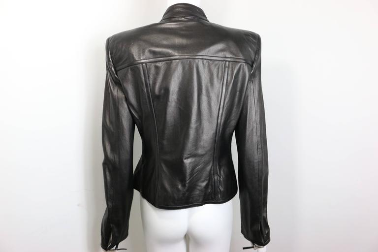 Gucci by Tom Ford Black Lambskin Leather Jacket For Sale 1