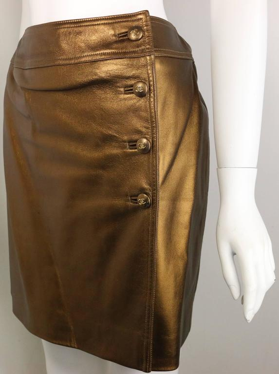 - Chanel bronze metallic lambskin leather wrap skirt from Fall 1996 collection. 