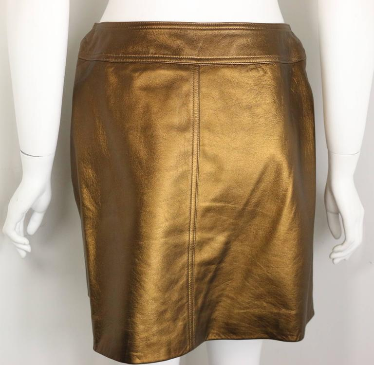 Brown Chanel Bronze Metallic Lambskin Leather Wrap Skirt  For Sale
