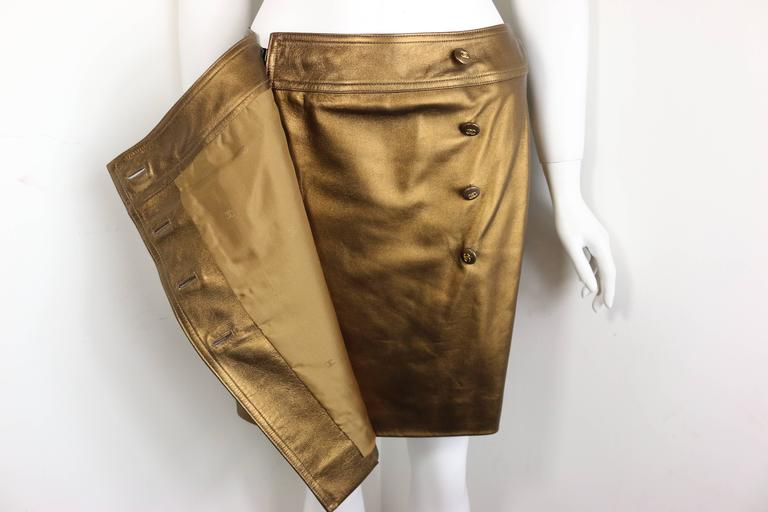Chanel Bronze Metallic Lambskin Leather Wrap Skirt  In Excellent Condition For Sale In Sheung Wan, HK